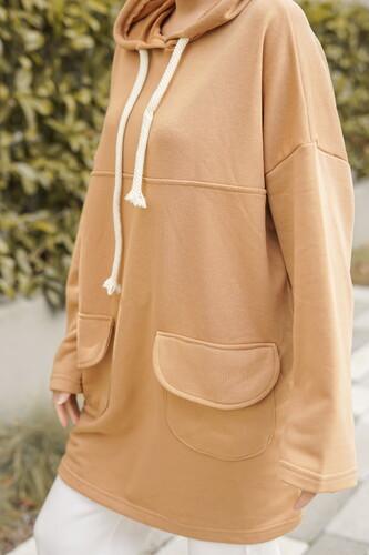 topless - Cep Detayli Sweatshirt BFT151 Taba (1)