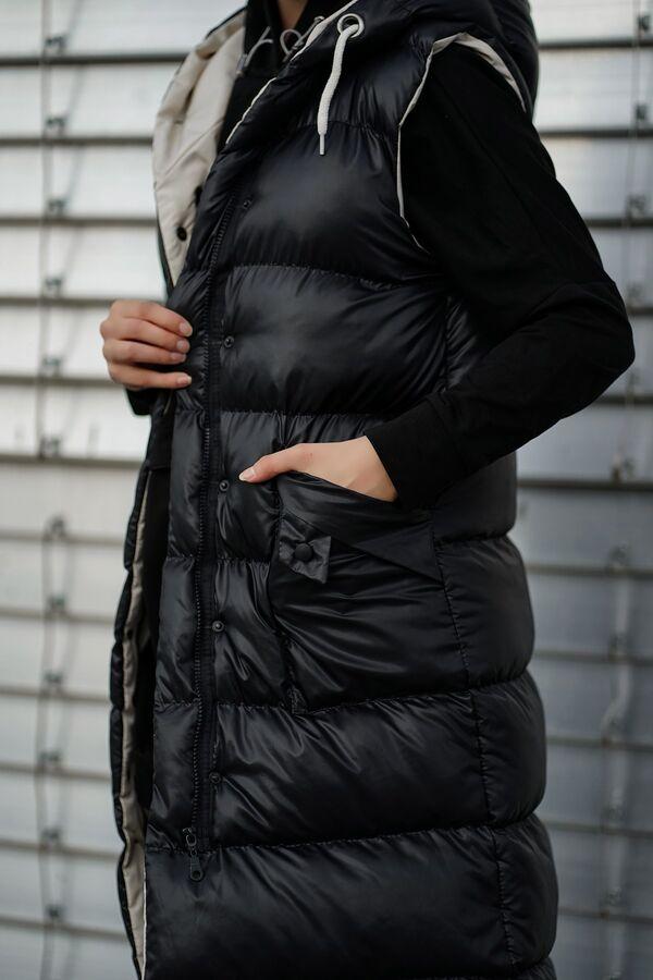 Kapüşonlu Uzun Şişme Yelek NST1616 Siyah Bej