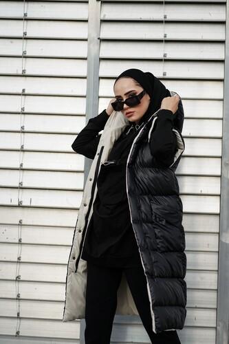 Kapüşonlu Uzun Şişme Yelek NST1616 Siyah Bej - Thumbnail