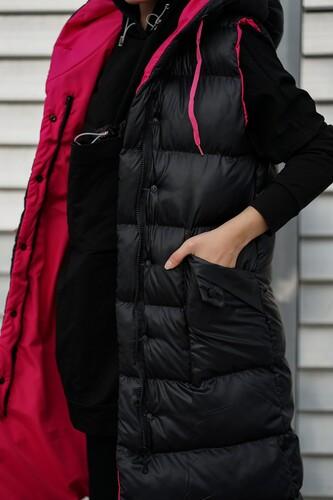Kapüşonlu Uzun Şişme Yelek NST1616 Siyah Fuşya - Thumbnail