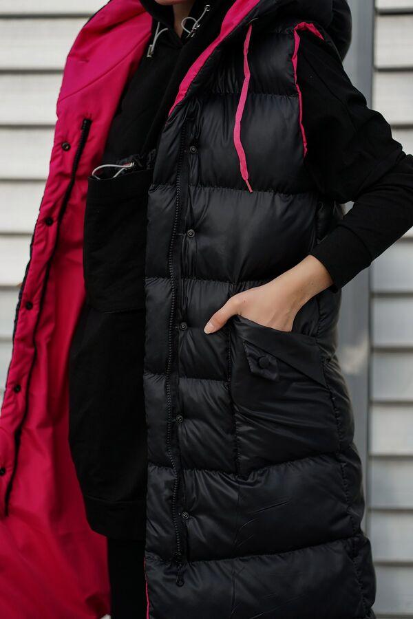 Kapüşonlu Uzun Şişme Yelek NST1616 Siyah Fuşya